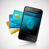 Biometric mobile payment concept with realistic smartphone with fingerprint login application and credit cards set vector illustration poster