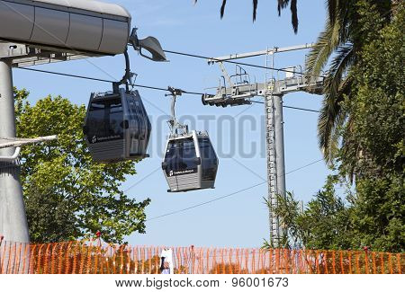 BARCELONA SPAIN - 10 MAY 2010: teleferics (overhead cable cars) way at Monjuic hill 10 May 2010 in B