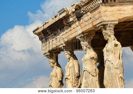 Caryatids Portico On Acropolis.