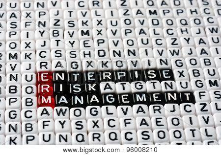 ERM Enterprise Risk Management writen on black and white dices poster
