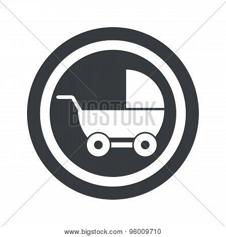Round black pram sign