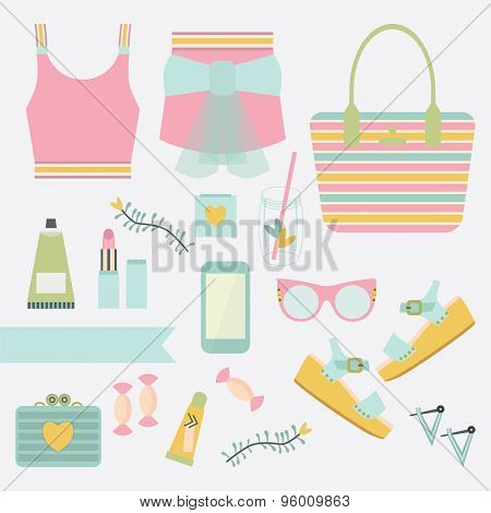 Pink and teal ladies summer fashion clothing and accessories