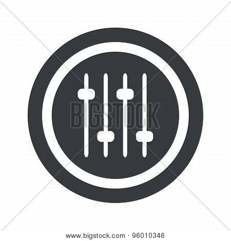 Round black faders sign