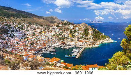 beautiful Greek islands - panorama of Hydra, Saronics