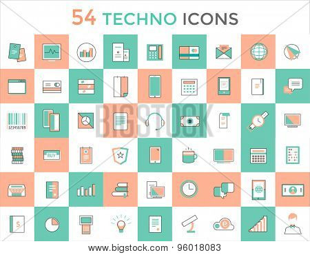 Business vector logo icons set. Objects, techno and finance symbols. Stock design elements