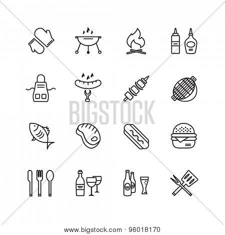 BBQ and Food Icons Vector Set. Outdoor, Kitchen or Meat symbols. Stock design elements