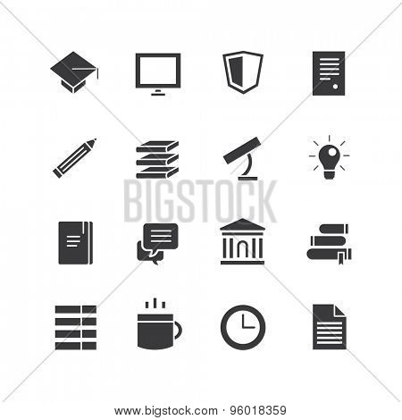 Education vector icons set. Science, students or school and college symbol. Stock design element.