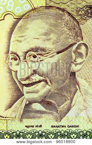 Closeup of Mahatma Gandhi on 500 Rupees Indian currency note