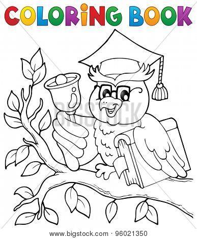 Coloring book owl teacher theme 1 - eps10 vector illustration.