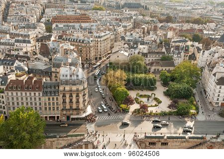 Overview of the Square Rene-Viviani and Quai de Montebello in 5th arrondissement of Paris.