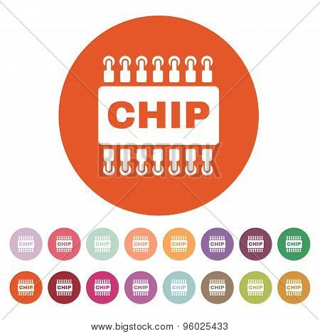 The chip icon. Microchip and microcircuit symbol. Flat Vector illustration. Button Set poster