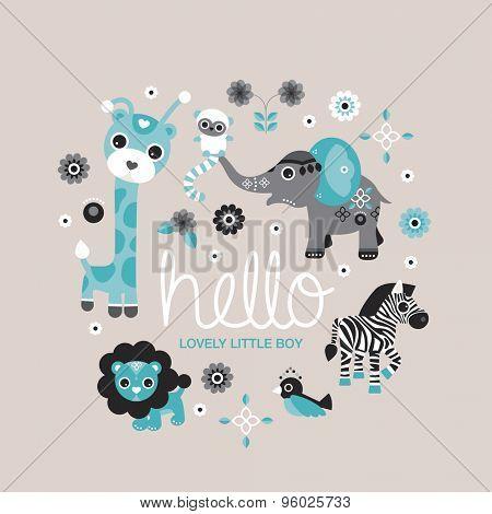 Hello little boy zoo and jungle animals postcard cover design for new born baby boys announcement or invitation