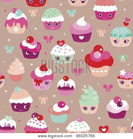 Seamless happy cupcake birthday party illustration japanese kawaii style colorful kids background pattern in vector