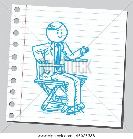 Businessman sitting in director's chair