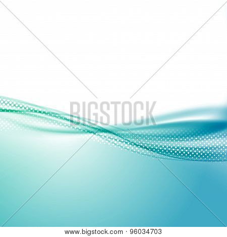 Wave Swoosh Smooth Border Line Blue Background
