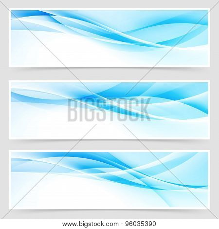 Bright Blue Abstract Swoosh Modern Line Header