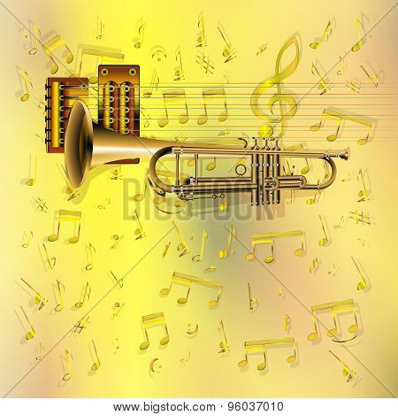 Music Background With A Trumpet And Notes