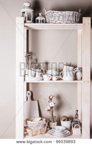 Shelves in the rack