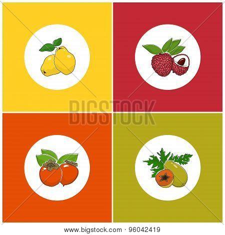 Round White Fruit Icons On Colorful Background