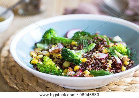 Red Quinoa With Corn And Broccoli Salad