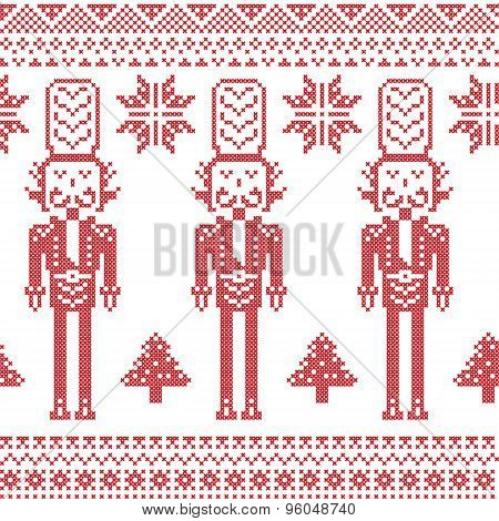 Christmas Scandinavian, Nordic pattern in cross stitch with Nutcracker soldiers , seamless pattern i