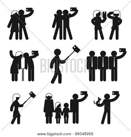 Set of vector selfie icons