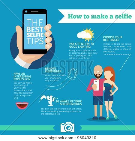 The best selfie tips. How to make. Infographic and instruction