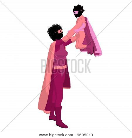 African American Super Hero Mom Illustration Silhouette