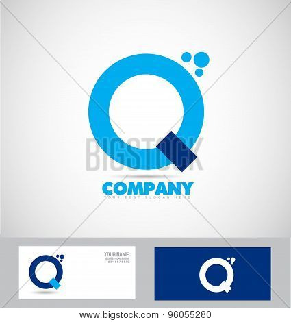 Letter Q Blue Simple Logo