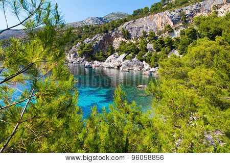 Blue lagoon island paradise in Adriatic Sea of Croatia Hvar. poster