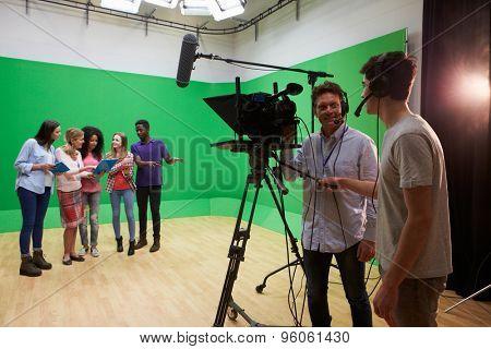 Students On Media Studies Course In TV Studio