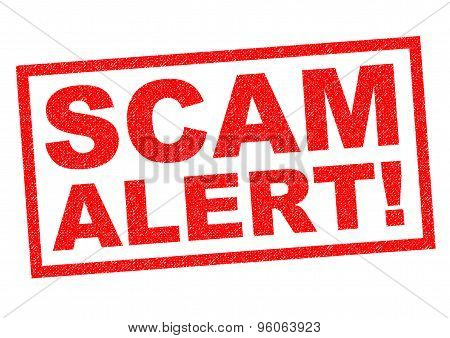SCAM ALERT! red Rubber Stamp over a white background. poster
