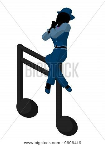 African ameircan jazz musician on a music note on a white background poster