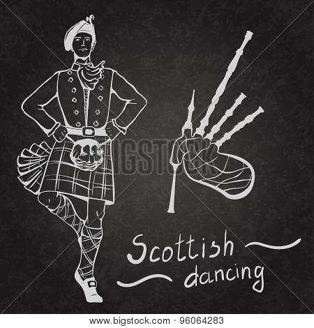 Sketch of Scottish dancer and Bagpipes on coated board