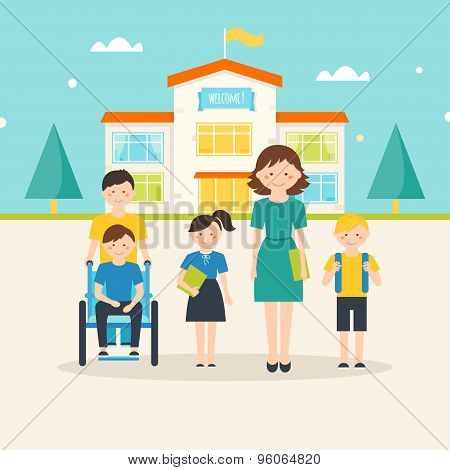 Young students, child with special needs and female teacher in front of school building with welcome
