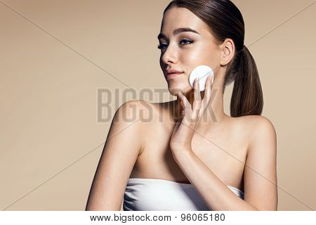 Skin Care Woman Removing Face Makeup - Skin Care Concept