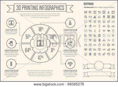 Three D Printing infographic template and elements. The template includes the following set of icons - heart, tooth, piggy bank, fax machine, cupcakes, global and more. Modern minimalistic flat thin