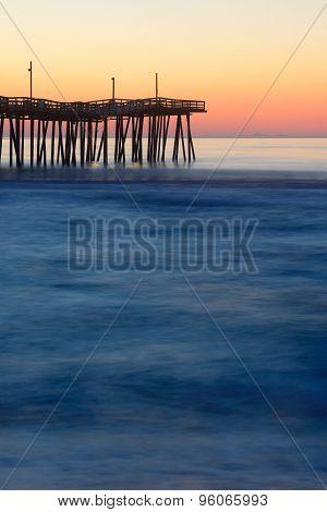 Long Exposure of Fishing Pier at Sunrise