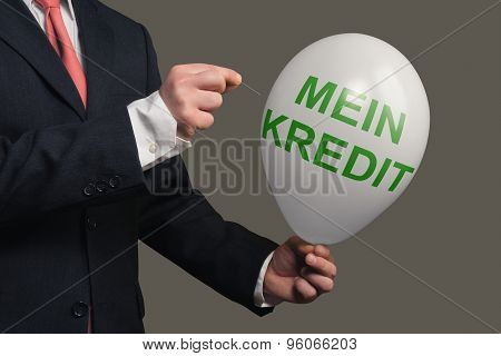 A Dream Bursts Symbolic With A Balloon And The German Words For