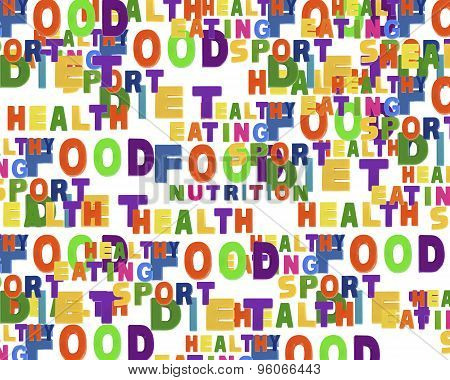 Conceptual Image Of Tag Cloud Containing Words Related To Food, Sports, Nutrition And Healthy Lifest