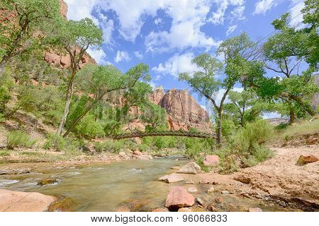 Emerald Pools Bridge, Virgin River, Zion National Park, UT