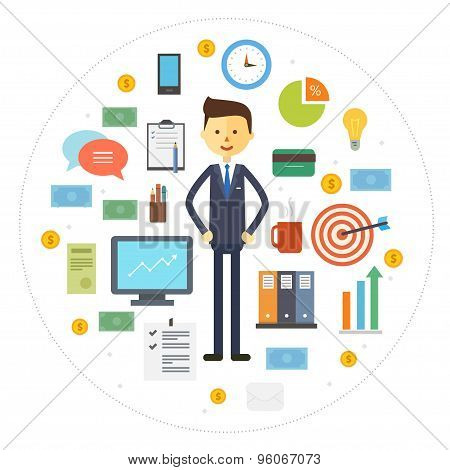 Vector collection business icons with businessman character.