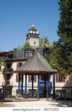 gazebo with hundertwasserhaus