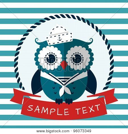 Sea Card With Sailor Owl. Vector Illustration.