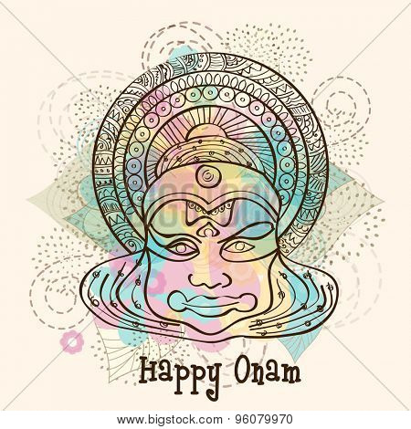 Sketch of Kathakali dancer face on floral design decorated background for South Indian festival, Happy Onam celebration.