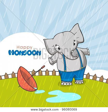 Cute little elephant with umbrella standing and enjoying rains on rays background for Happy Monsoon concept.