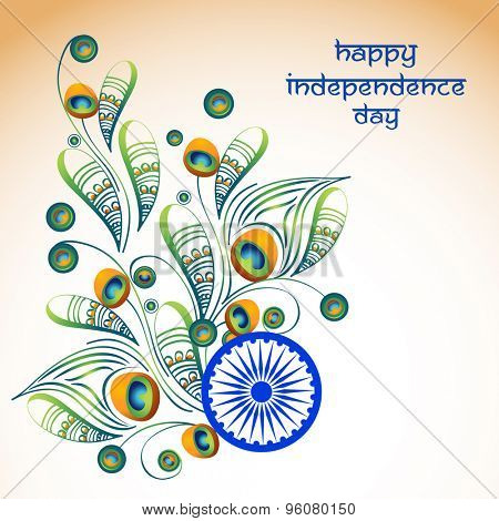 Elegant greeting card design decorated with beautiful floral pattern in peacock feather shape on shiny background for Indian Independence Day celebration.