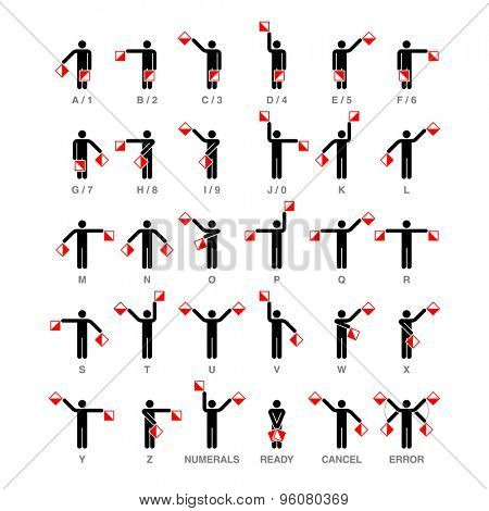 Semaphore flag signals, alphabet and numbers. Vector.