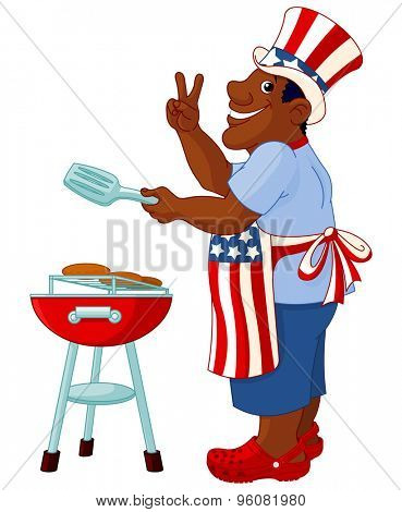 Funny man with Uncle Sam hat cooking hamburgers on grill