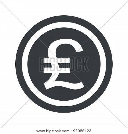 Round black pound sterling sign
